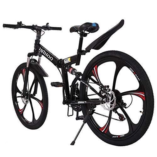 Outroad Mountain Bike,26 Inch Mountain Bike with 6 Spoke 21 Speed Dual Disc Brakes Full Suspension Non-Slip Mountain Bike Folding Bike