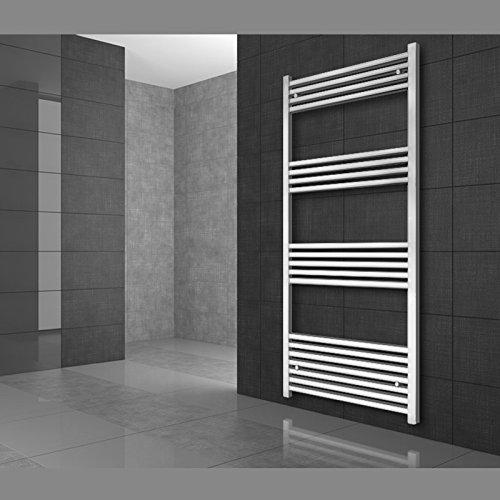 ECD Germany Radiador de toallas para baño - 500 x 1200 mm - Blanco - Curvado