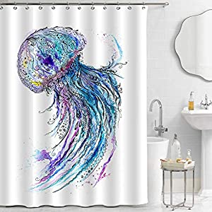 "MitoVilla Jellyfish Shower Curtain Set with Hooks, Watercolor Hand Painting Deep Sea Wildlife with Blue Medusa Artwork for Tropical Marine Themed Home Decorations, Blue, 72"" W x 72"" L for Shower Tub"