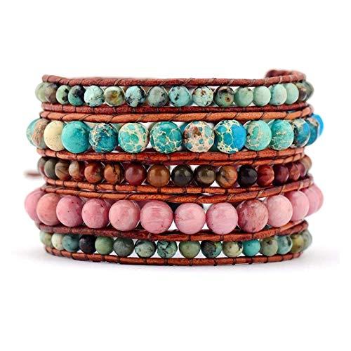 ZAOPP Women Leather Bracelet Natural Stones Vintage Leather Wrap Bracelet Beaded Weaving Cord Bracelet Leather Jewelry Accessories