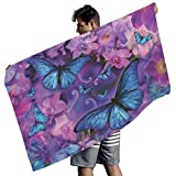 Perstonnoli Toalla de playa con mariposas y flores, microfibra, absorbente, toalla de playa, toalla de playa, toalla de...