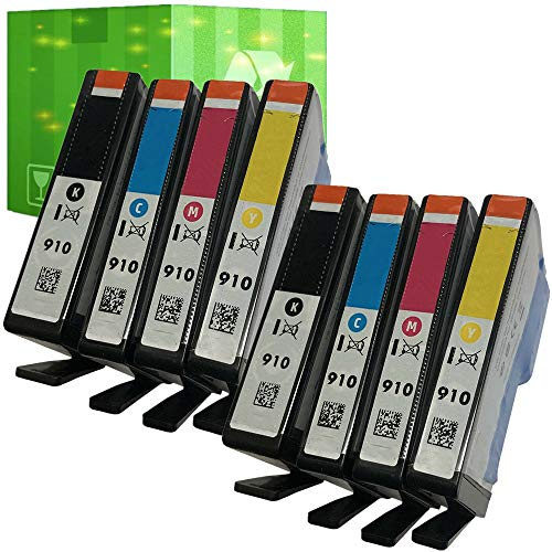 J2INK Remanufactured Ink Cartridge Replacement for HP 910 Black and HP 910 Tri Color Total 8 Pack Ink Cartridge 3YL61AN 3YL58AN 3YL59AN 3YL60AN OfficeJet 8035 8028 8025 8022 8020 (2 Sets)