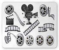 映画館のマウスパッド、映写機のフィルムスレートとリールの映画産業をテーマにしたグレースケールのイラスト、長方形の滑り止めのゴム製マウスパッド、ブラックグレー11.8インチ×9.85インチ