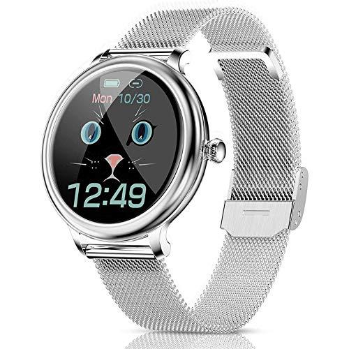 DOOK Smartwatch, Reloj Inteligente Mujer IP67 con Pulsómetro, 1.09 Inch Smartwatch Presión Arterial Monitor de Sueño Podómetro Pulsera Actividad Inteligente Compatible iOS y Android Silver