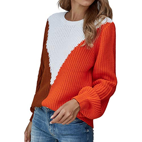 Chunmei Women Sweater Jumpers Long Sleeve Sexy Elegant Modern Round Neck Patchwork Loose Knit Top Light Loose Casual Sweatshirt Autumn Winter Fashion Temperament Party Top XL