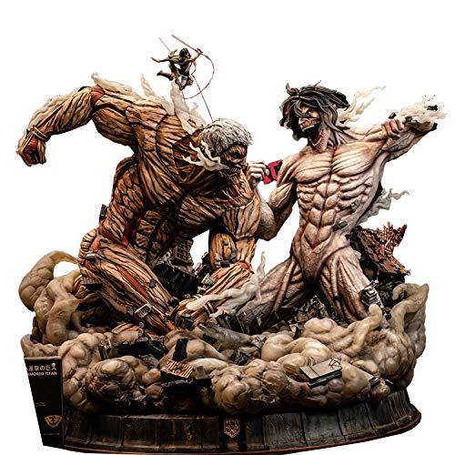 Wuhuayu Attack on Titan Figur - Figurama Offiziell Autorisierte Statue, EREN Jaeger & Mikasa VS. GEPANZERTER Titan, H 61,1 X B 73,4 X T 69,5 (cm)