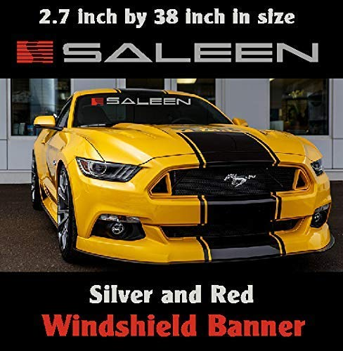 Ford Saleen Mustang Windshield Banner Silver and Red 2.7 inch by 38 inch / Decal / Sticker / Emblem Mustang / Boss / GT