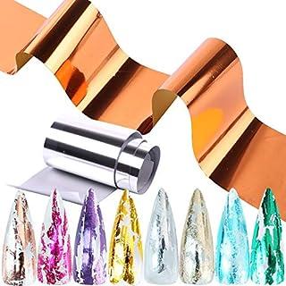 Spijker glitter 14pcs Metallic spiegellijm Nagel Foil Set Metal Color Transfer Folie Holografische Wrap Decals Starry Pape...