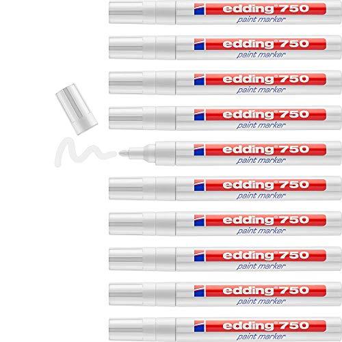 edding 750 Lackmarker - weiß - 10 Stifte - Rundspitze 2-4 mm - Lackstift zur Markierung und Beschriftung von Metall, Glas, Stein oder Kunststoff - hitzebeständig, permanent, wisch- und wasserfest