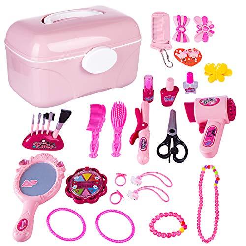 Make Up Play Set, 31 Pezzi Simulazione Parrucchieri Cosmetici Set Bellezza Finge i Giocattoli Trucco Principessa Regalo per i Bambini 3 Anni +