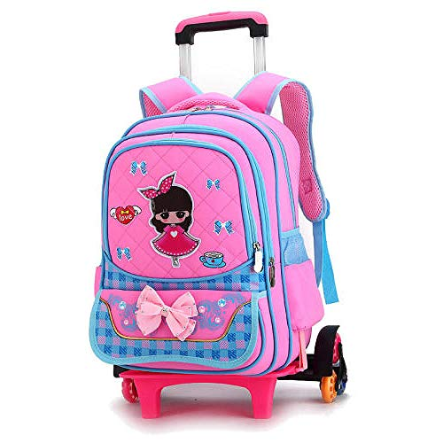 ZZLHHD Wheeled Trolley Backpack,Children tie rod backpack, detachable push-pull bag-Powder a_Six rounds,Kids Trolley Backpack