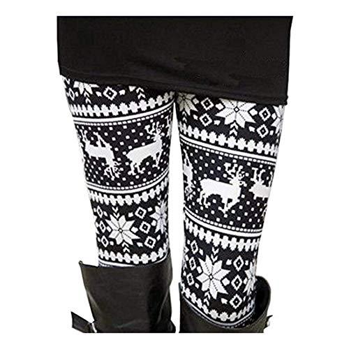 Full Length Xmas Patterned Leggings Elastic Waist Snowflake Pants for Women L