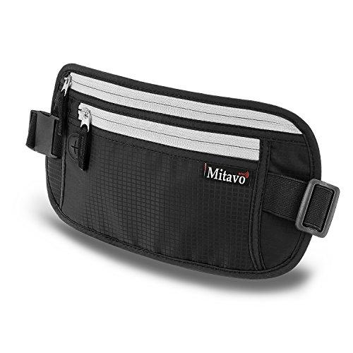 Mitavo cinturón de viaje plano con bloqueo RFID, impermeable y transpirable, riñonera seguridad de viaje adecuada para todos los iPhones y Samsung, en negro para hombres y mujeres
