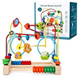 Ucradle Boulier Labyrinthe Circuit de Motricité Boulier Montessori Bebe Jouet Bois Jeu Labyrinthe Motif de Animal Jeu Educatif Cadeau Enfant Fille Garcon 3 4 5 6 Ans