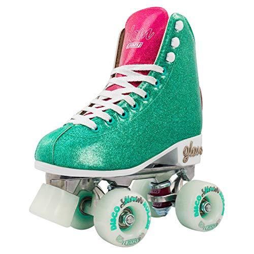Crazy Skates Glam Roller Skates for Women and Girls - Dazzling Glitter Sparkle Quad Skates - Teal with Purple (Size 7)