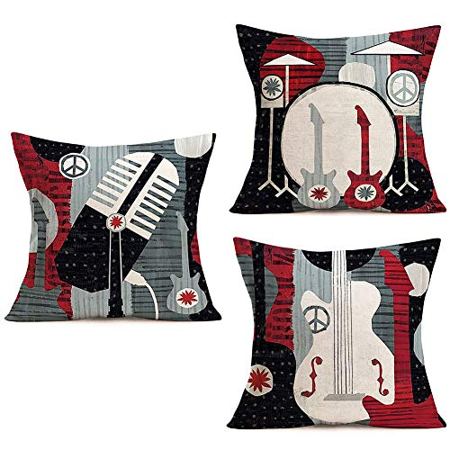 Doitely Set of 3 Throw Pillow Covers Electric Guitar Music Microphone Decorative Pillow Cases Cotton Linen Modern Home Decor Square 18x18 Inches Pillowcases