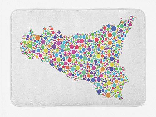 Yilan Sizilien-Badematte, Süditalien-Insel-Kartenillustration, dargestellt als Mosaik der Harlekin-Blasen, Plüsch-Badezimmer-Dekor-Matte mit Rutschfester Rückseite, weiße mehrfarbige