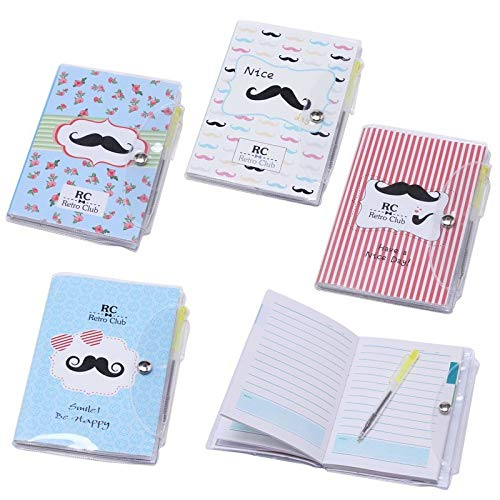 """Lote de 20 Libretas Notas Pvc""""Moustache"""" Con Bolígrafo Regalos de Bodas - Libretitas, libreta baratas para Detalles y Recuerdos Bodas Adultos, Niños y Niñas"""