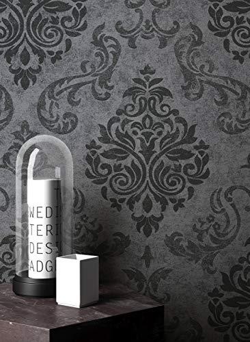 Newroom Papier peint baroque Gris Ornement baroque Papier peint non tissé Noir Design moderne Style baroque Salon Glamour Avec guide de papier peint inclus
