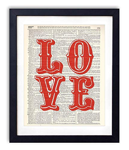 Big Red Love Upcycled Vintage Dictionary Art Print 8x10