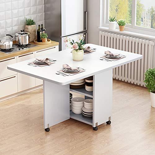 LHY Kitchen Mesa de Comedor móvil Plegable de Madera Maciza Creativa, Mesa de Comedor Rectangular Extensible, Sala de Estar, Cocina, Almacenamiento, Muebles para el hogar,Blanco,120cm