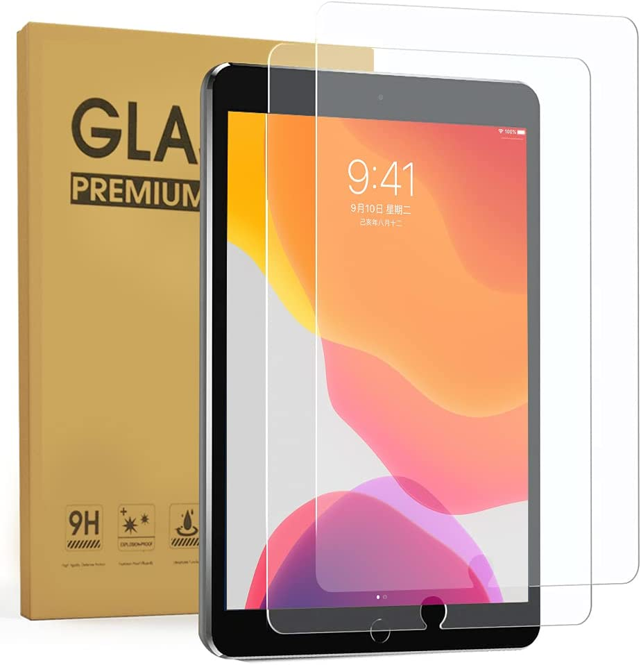[2Pack] ZenRich Screen Protector for iPad 9th/8th/7th Generation, zenrich iPad 10.2 inch Tempered Glass Screen Protector 2021/2020/2019, 9H Hardness Glass Film for Bubble Free/Case Friendly