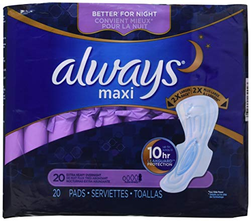 Always Extra Heavy Overnight Maxi Pads with Flexi-Wings - 20 Count (2 Pack) (Packaging may vary)