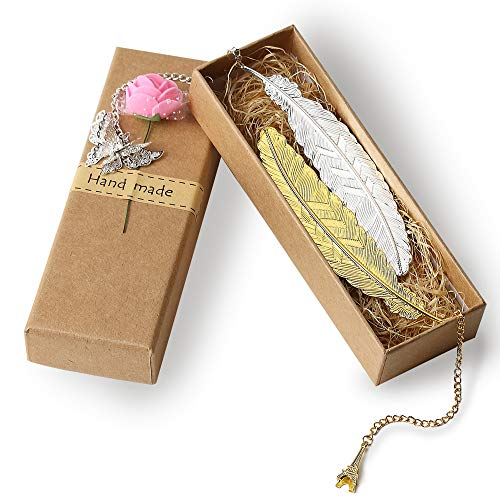 2 Pieces Classical Feather Leaf Metal Bookmarks Feather Leaf Bookmarks Feather Leaf Shaped Bookmarks for Adults and Kids(Gold and Silver Feather)