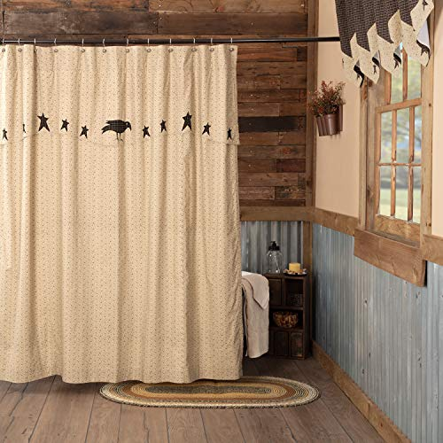 VHC Brands Kettle Grove Shower Curtain with Attached Applique Crow and Star Valance 72x72 Primitive Country Patchwork Design, Creme