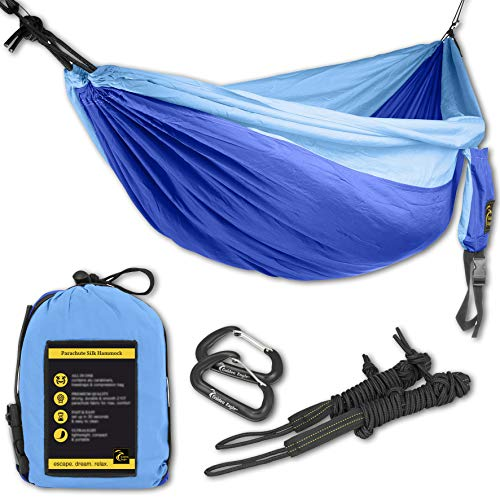 GOLDEN EAGLE Late Summer Sale - Camping Hammock Set - 108 x 55 in - 440 lbs Load- Incl. 2 carabiners & 2 Ropes Lightweight Parachute Nylon 210T Single...