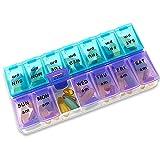 Pilulier Hebdomadaire - Boîte à Médicaments 7 Jours Matin & Soir à Compartiments Larges - Pilulier de Voyage sans BPA pour...