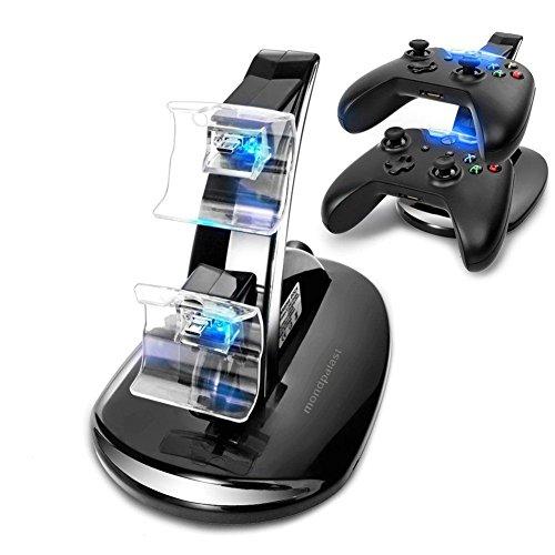 Mondpalast @ Doppio Caricabatterie Station Dock supporto basetta base stazione di ricarica per Microsoft Xbox One XBOX ONE X-ONE Controller gamepad joypad