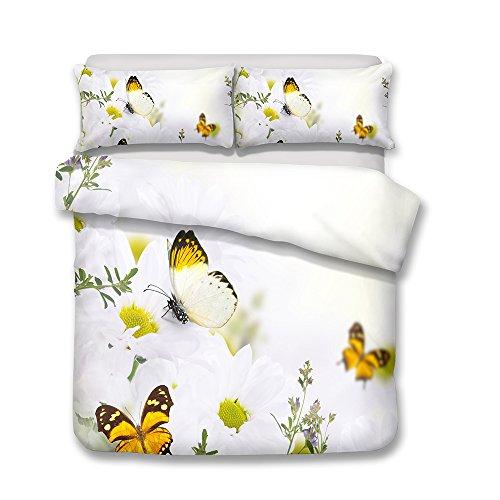 CHAOSE Juego de Sábanas Serie de Mariposa 3D Floral Funda Nórdica de Algodón y poliéster 3 Piezas (1 Funda Nórdica + 2 Funda de Almohada) (Mariposa Blanca, (220x 240cm+2/75x50cm) - Cama de 150