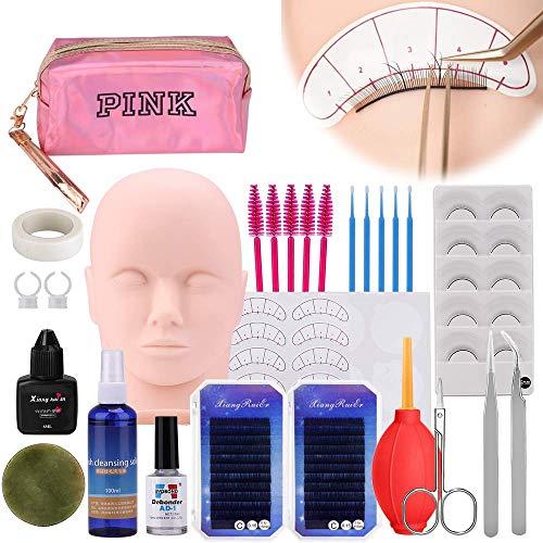 Wimpernverlängerung übungskopf Set, [Verbessert] MYSWEETY Make-up Trainieren Bausatz mit Puppenkopf für Puppenkosmetik, Falsche Wimpern mit Kleber