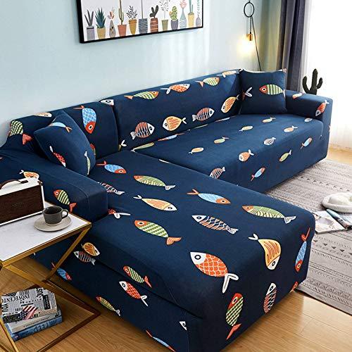 SLOUD Fundas elásticas para sofá, Fundas para sofá en Forma de L, Protectores para Muebles, 2 Fundas elásticas de Tela de poliéster-B-En Forma de l 2+3 plazas