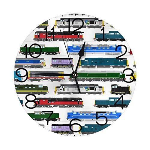Reloj de pared redondo con impresión de locomotoras diésel, grande, decorativo, números redondos, decoración del hogar para sala de estar (25 cm)