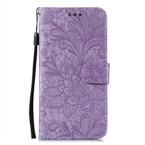 JZ Galaxy A71 4G Lace Flowers Protective Wallet Funda For para Samsung A71 4G with Wrist Strap Flip Cover - Rurple