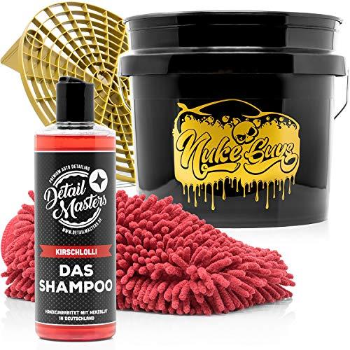 detailmate Autopflege Set - DetailMasters -Außenreinigung - Das Shampoo 500ml, Autoshampoo + Nuke Guys 3,5 GAL Wascheimer + Microfiber Monkey Waschhandschuh