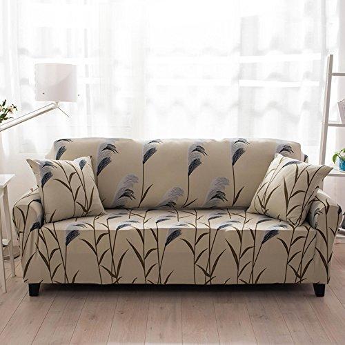 HYSENM 1/2/3/4 Sitzer Sofabezug Sofaüberwurf Stretch weich elastisch farbecht Blumen-Muster, Spargel 3 Sitzer 190-230cm