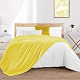 """Walensee Fleece Blanket Plush Throw Fuzzy Lightweight (Throw Size 50""""x60"""" Yellow) Super Soft Microfiber Flannel Blankets for Couch, Bed, Sofa Ultra Luxurious Warm and Cozy for All Seasons"""