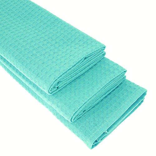 Damilo Lot de 3 torchons 100 % coton gaufré piqué Turquoise 70 x 50 cm