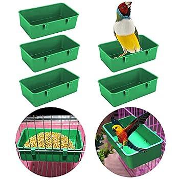 Lot de 5 mangeoires à oiseaux pour cage à oiseaux, bac à mangeoire, bol à suspendre, bain d'oiseaux, jouets, boîte de douche pour animaux domestiques, perroquets, calopsittes et perruches