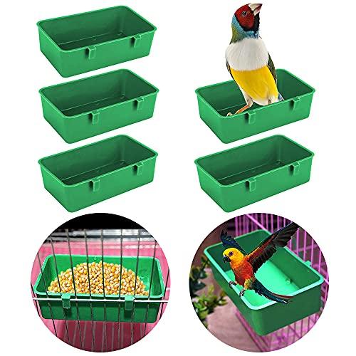 5Pcs Birds Cage Cup Food Feeder Holder Tray Bird BathTub Bowl Basin Hanging Birdbath Toy Water Shower Box for Pet Parrot Parakeet Cockatiel Budgie Cage Accessories