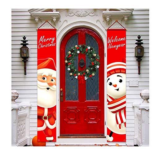 Décorations De Porche De Noël Bannière De Porte en Plein Air Décor De Noël Ensemble Porte D'entrée Joyeux Noël Signe pour Ville Pays Ferme Tenture Murale À L'extérieur