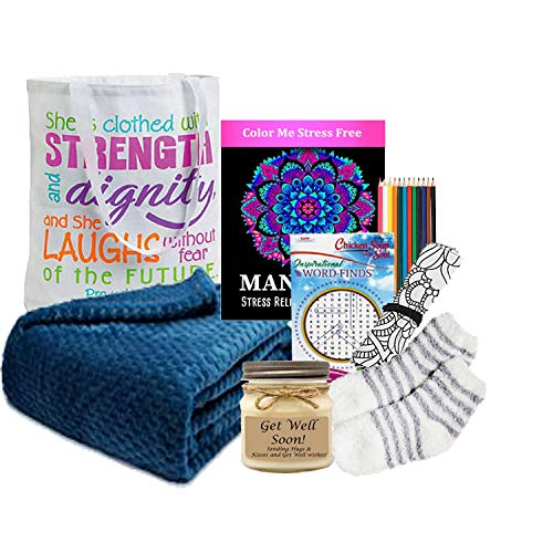 Free 2-3 Day Fast delivery - Get Well Gift for Women - Get Well Soon Basket - Ultra Plush Blanket, Tea, Get Well Candle and More