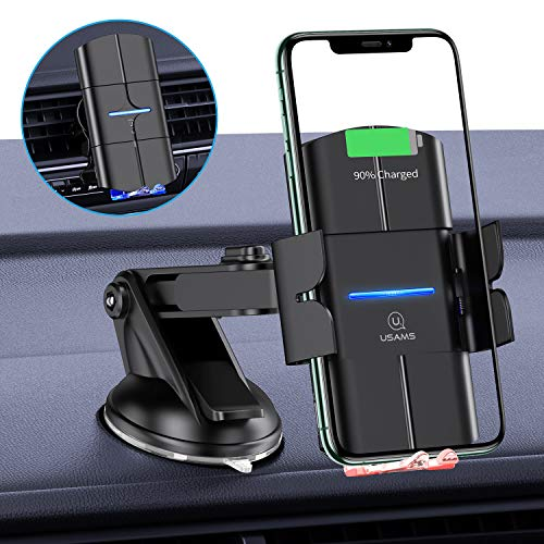 USAMS Wireless Charger Auto, Qi Ladestation Handyhalterung Kfz Handy Halterung Induktiv Induktion Autohalterung für iPhone XS Max/XR/X/8 Plus, Huawei Samsung Galaxy S10/S9/S8 Note 10/9/8 [2020 Neu]