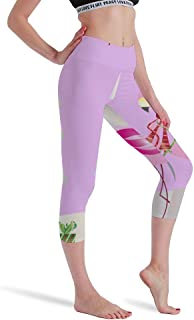 Cinlanck Christmas Flamingo Merry Christmas Card Vector Image High Waist Yoga Pants for Women Running Fitness