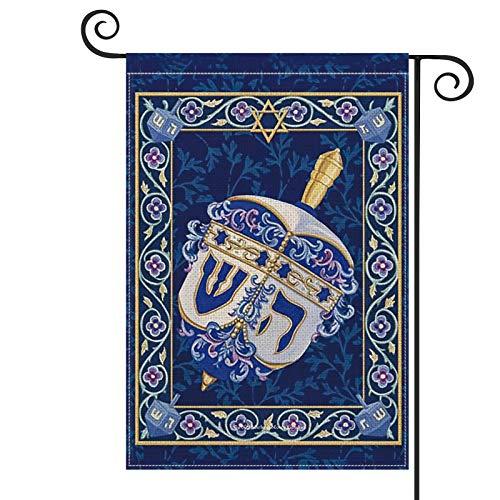 AVOIN Hanukkah Dreidel Star of David Garden Flag Vertical Double Sized, Jewish Sivivon Holiday Yard Outdoor Decoration 12.5 x 18 Inch