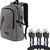 Laptop Backpack, Waterproof Travel Backpack with USB Charging Port, Grey   Micro USB Cable 6ft 3Pack Fast Charging Cord Wire Compatible for Android Device, Black
