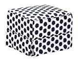 Storkcraft Polka Dot Upholstered Ottoman, White/Navy, Cleanable Upholstered Comfort Rocking Nursery Ottoman